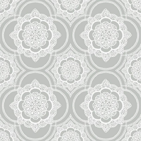 Grey & White Commercial Lace Medallion Wallcovering