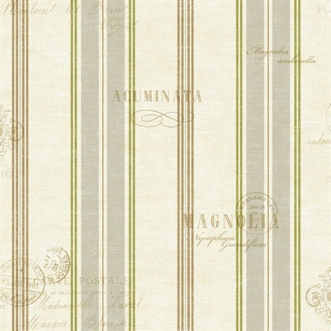 Grey, White & Green Commercial Caribbean Stripe Wallcovering
