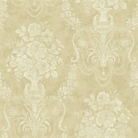 Metallic Gold & Neutrals Damask Commercial Wallcovering