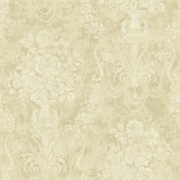 Metallic Gold, Neutrals & Off White Damask Commercial Wallcovering