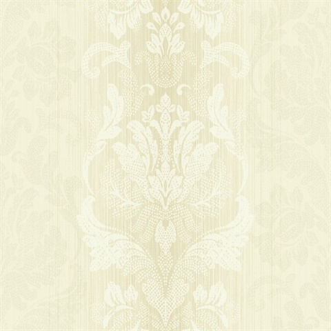 Metallic Gold & Off White Damask Commercial Wallcovering