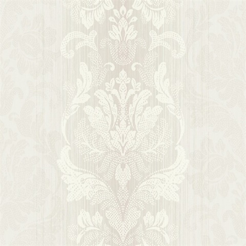 Metallic & White Damask Commercial Wallcovering