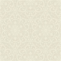 Neutrals & Off White Damask Commercial Wallcovering