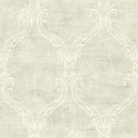 Off White Damask Commercial Wallcovering