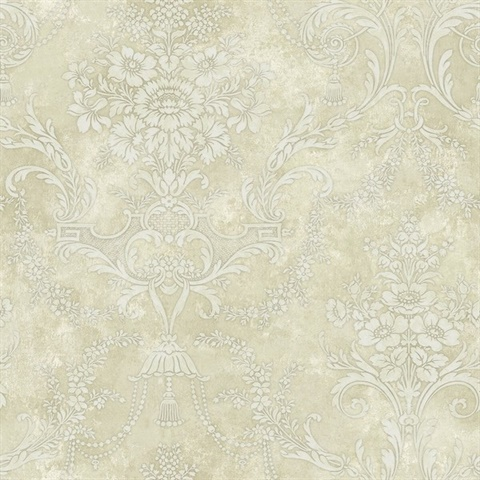 Off White & Tan Damask Commercial Wallcovering
