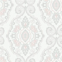 Pink Sunset Damask Commercial Wallcovering