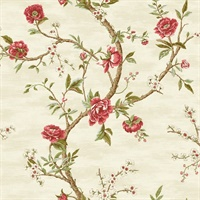 Silver, Gold, Green & Red Commercial Peony Floral Wallcovering