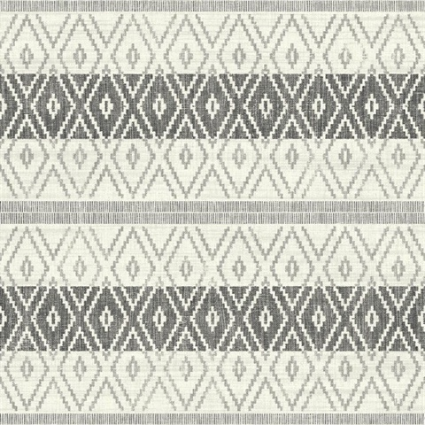 Silver & Grey Commercial Tribal Stripe Wallcovering