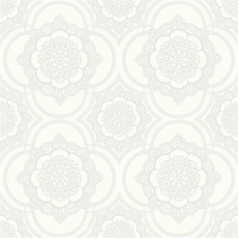 Silver & White Commercial Lace Medallion Wallcovering