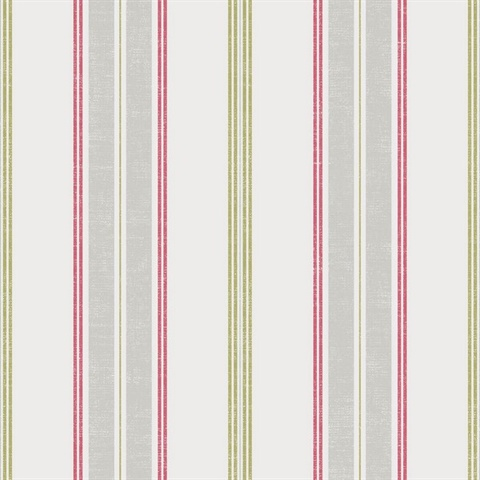 Silver, White, Green & Pink Commercial Traditional Stripe Wallcovering