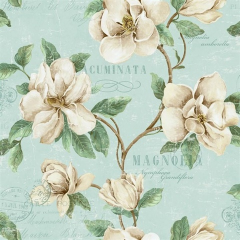 Sky blue, Brown, Cream & Green Commercial Magnolia Floral Wallcovering
