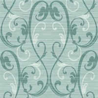 Turquoise Damask Commercial Wallcovering