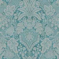 Turquoise & Grey Damask Commercial Wallcovering
