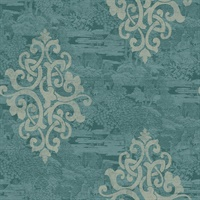 Turquoise & Silver Damask Commercial Wallcovering