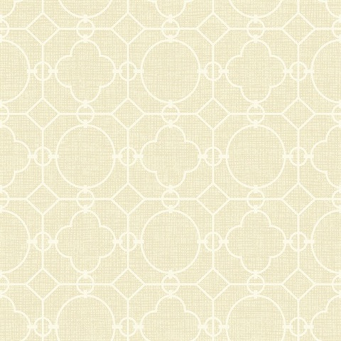 White & Beige Commercial Lattice Geometric Wallcovering