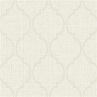 White & Beige Damask Commercial Wallcovering
