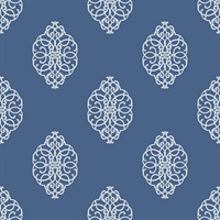 White & Blue Commercial Ironwork Medallion Wallcovering