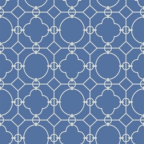 White & Blue Commercial Lattice Geometric Wallcovering