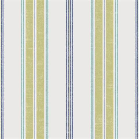 White, Green & Blue Commercial Traditional Stripe Wallcovering