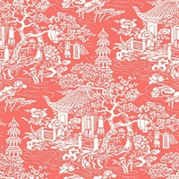 White & Red Commercial Oriental Scenic Wallcovering