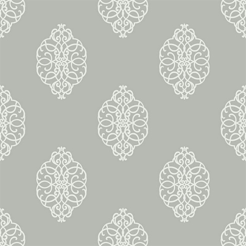 White & Silver Commercial Ironwork Medallion Wallcovering