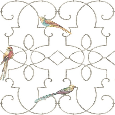 White & Silver Commercial Ironwork with Birds Wallcovering