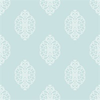 White & Sky Blue Commercial Ironwork Medallion Wallcovering
