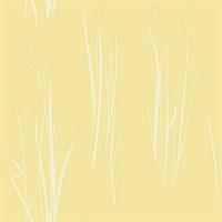 White & Yellow Commercial Windy Grasses Floral Wallcovering
