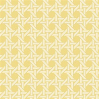 White & Yellow Commercial Wicker Geometric Wallcovering