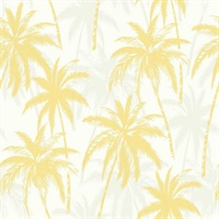 Yellow, Grey & White Commercial Palm Trees Wallcovering